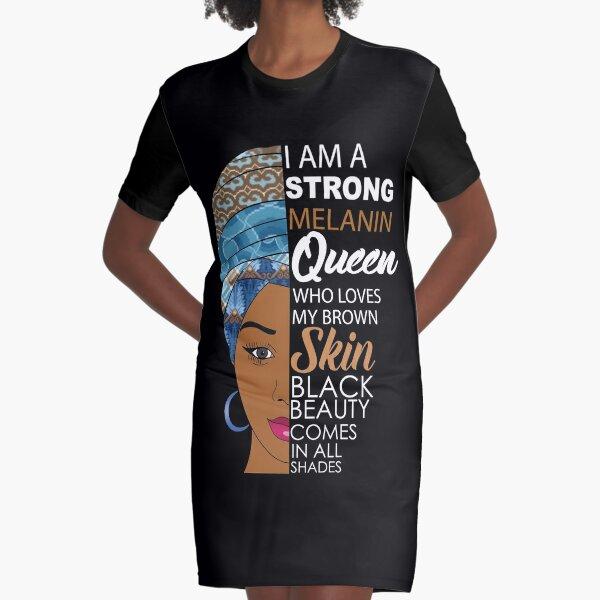 Strong Black Melanin Queen Graphic T-Shirt Dress