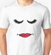 Eyelash And Red Lipstick - Funny Cute Girly T Shirt Makeup Slim Fit T-Shirt