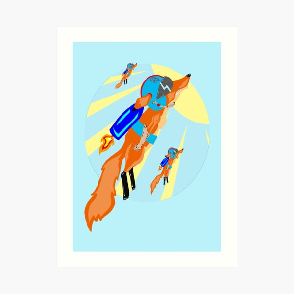 Rocket Fox Brigade Art Print