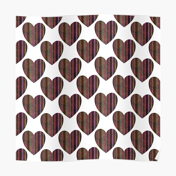 Illustrations of decorative hearts.Graphics of love. Poster