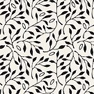 Black & White Minimalist Leaf Pattern by emma60