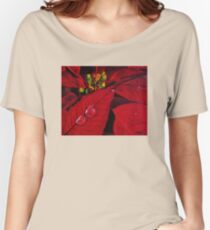 Big Red Poinsettia Women's Relaxed Fit T-Shirt