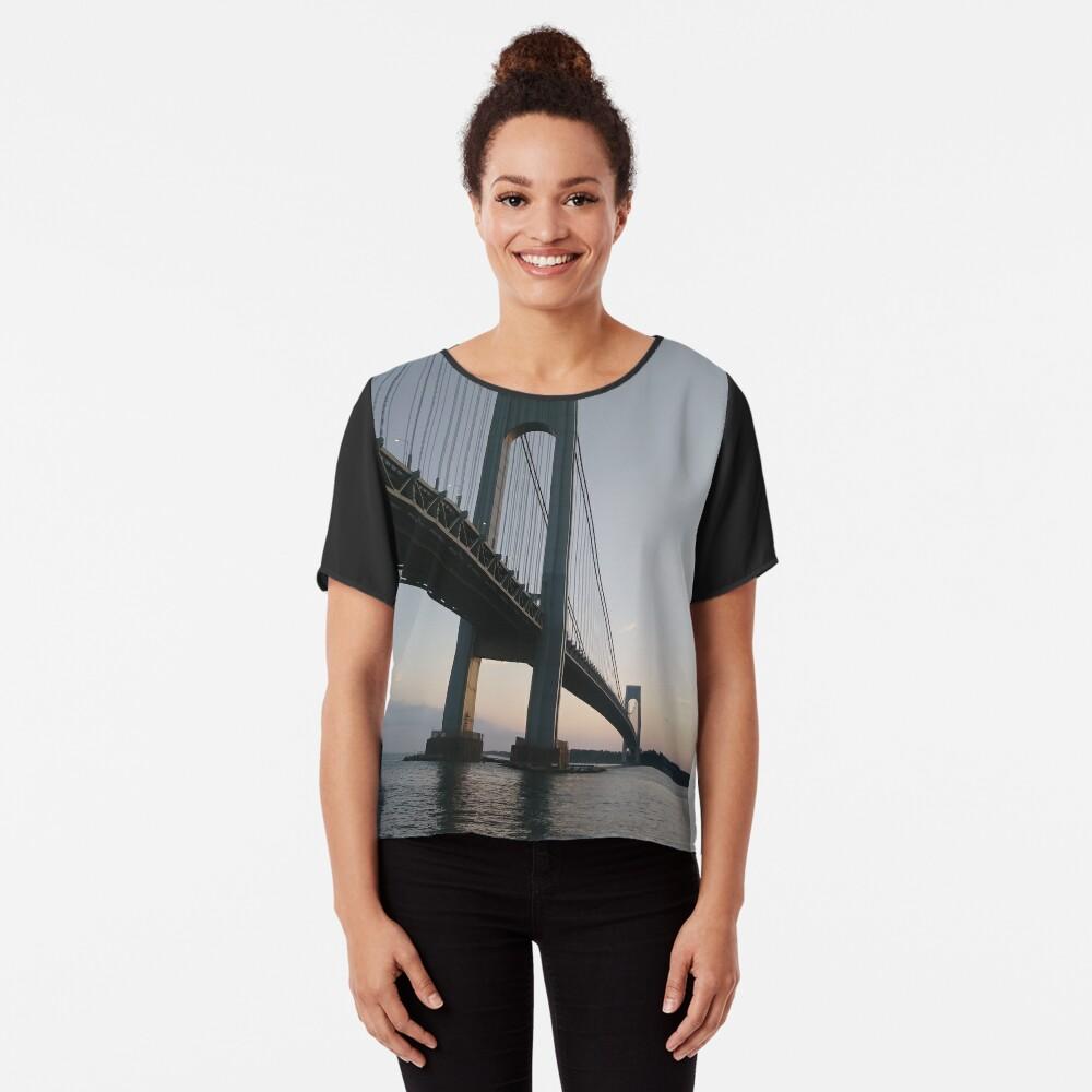 New York, New York City, Brooklyn, #NewYork, #NewYorkCity, #Brooklyn, Verrazano-Narrows Bridge, #VerrazanoNarrowsBridge, #VerrazanoBridge, #bridge, #Verrazano, #Narrows, Verrazano-Narrows Bridge Chiffon Top