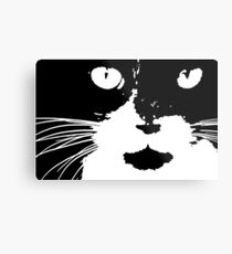 Cat Print/My Patch Abstract Graphic Cat Print Black and White - Jenny Meehan Design Metal Print