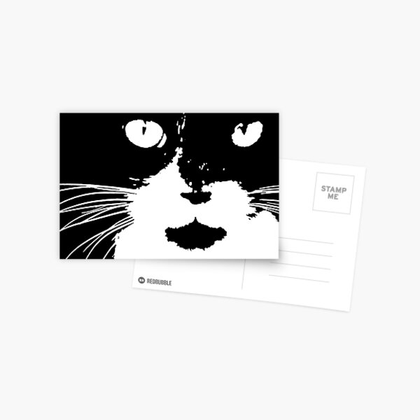 Cat Print/My Patch Abstract Graphic Cat Print Black and White - Jenny Meehan Design Postcard