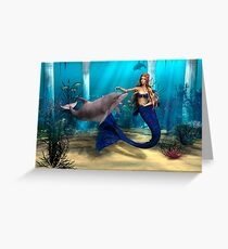 Mermaid and Dolphin Greeting Card