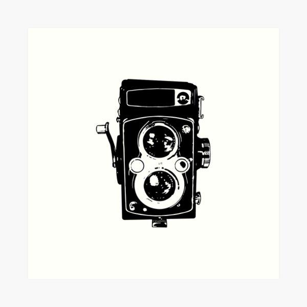Big Vintage Camera Love - Black (White Background) Art Print
