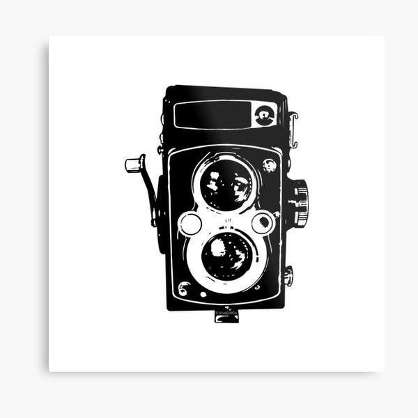 Big Vintage Camera Love - Black (White Background) Metal Print