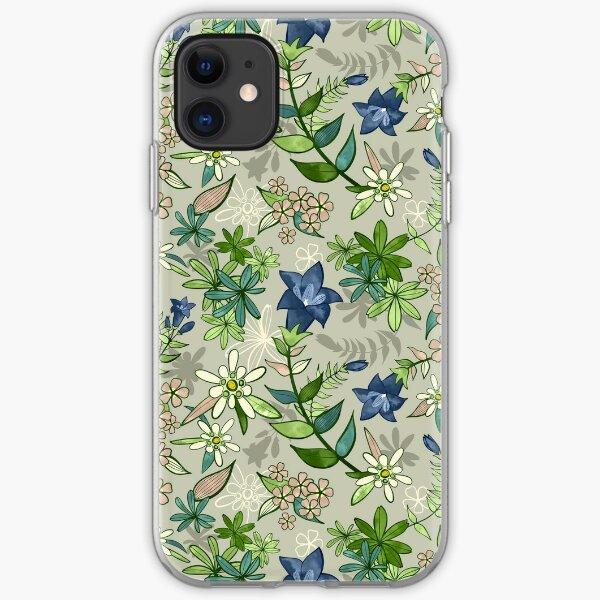 Alpine Flowers - Gentian, Edelweiss iPhone Soft Case