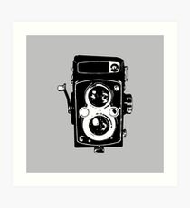 Big Vintage Camera Love - Black on Grey Background Art Print