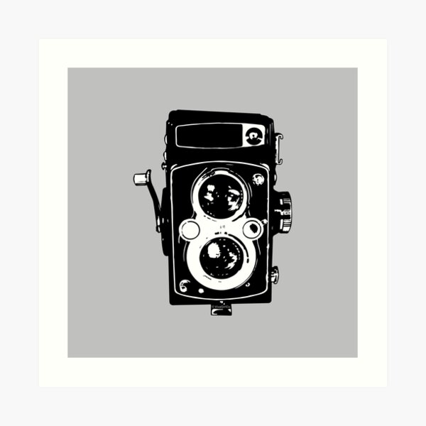 Big Vintage Camera Love - Black on Grey Background Art Print