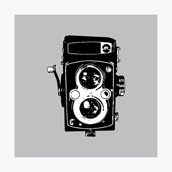 Big Vintage Camera Love - Black on Grey Background Photographic Print