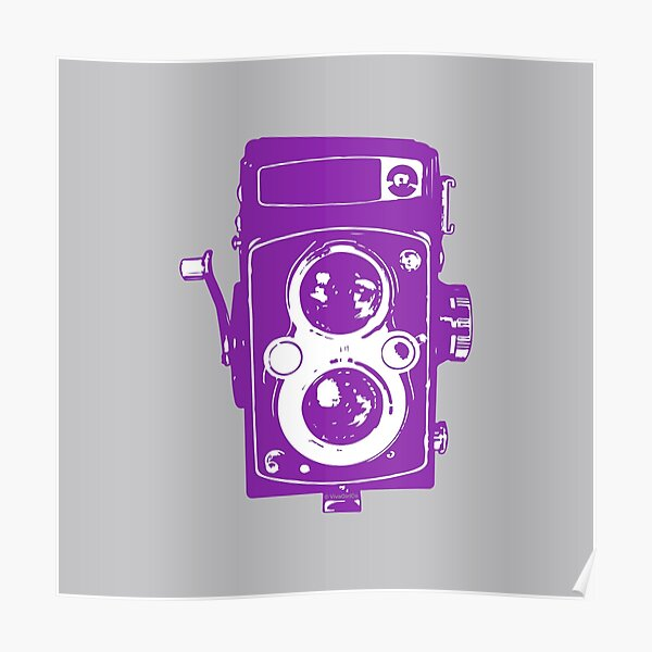 Big Vintage Camera Love - Purple on Grey Background Poster