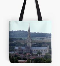 Salisbury Cathedral in  the distance Tote Bag