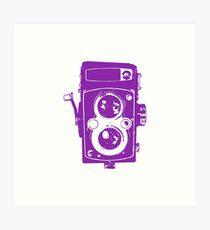 Big Vintage Camera Love - Purple Art Print