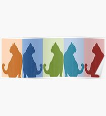 Reflected Images Of A Line Of Cats Poster