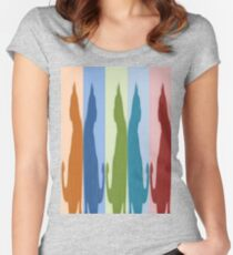 Reflected Images Of A Line Of Cats Women's Fitted Scoop T-Shirt