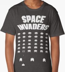 Invaders From Space 8bit Retro Video Game Pixel Alien Invasion T Shirt, tshirt, tee, jersey, poster, artwork Long T-Shirt