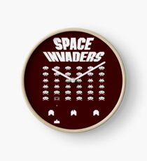 Invaders From Space 8bit Retro Video Game Pixel Alien Invasion T Shirt, tshirt, tee, jersey, poster, artwork Clock