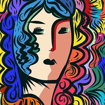 Rainbow Pop Art Girl Portrait by signorino