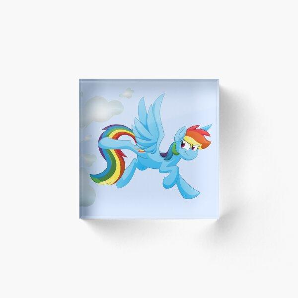 Cloud Busting Rainbow Dash No Background Acrylic Block