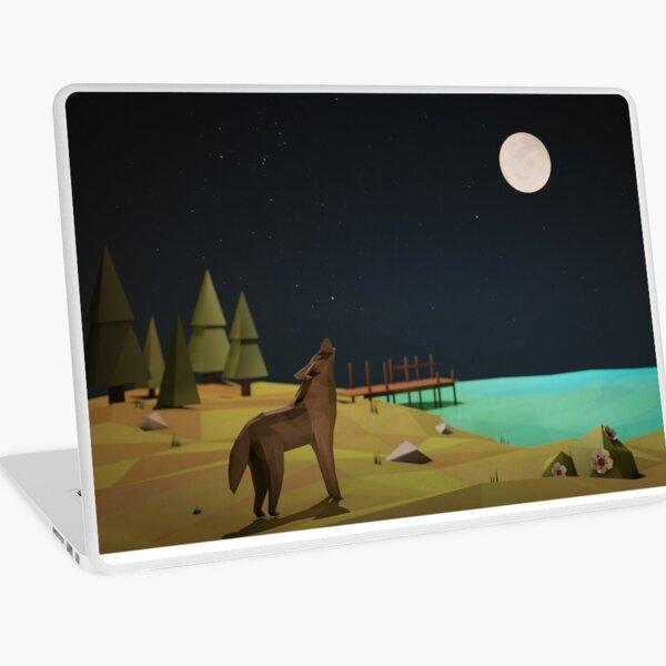 Geometric Night Wolf Laptop Skin