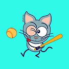 Cool cat playing baseball by Zoo-co