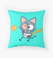 Cool cat playing baseball Throw Pillow