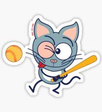 Cool cat playing baseball Sticker