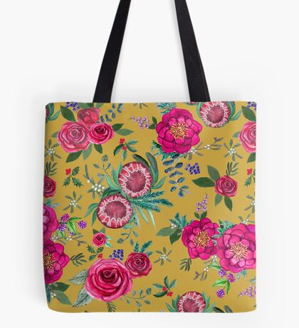 Fall Floral mustard yellow // watercolor flowers of Protea, rose, Poinsettia,   beauty berry, blueberry / winter  holly, mistletoe & eucalyptus Tote Bag