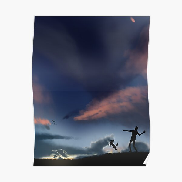 Playing Fetch at Sunset Poster