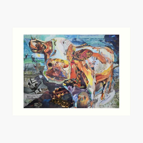 Colorful Cow Art Collage by CE White Art Print
