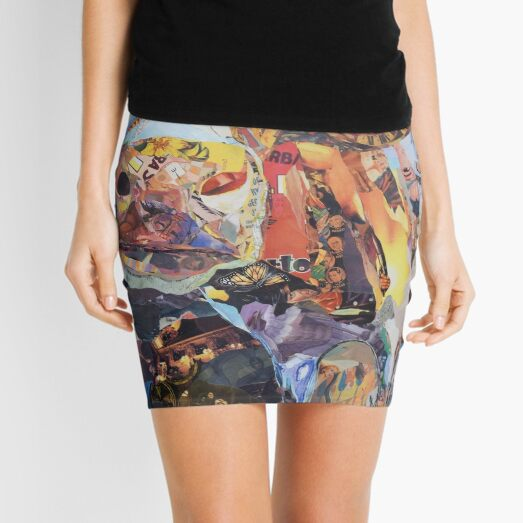 Colorful Cow Art Collage by CE White Mini Skirt