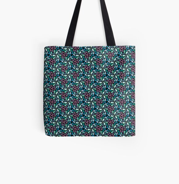 Psychedelic 1970s in a spin - navy and green  All Over Print Tote Bag