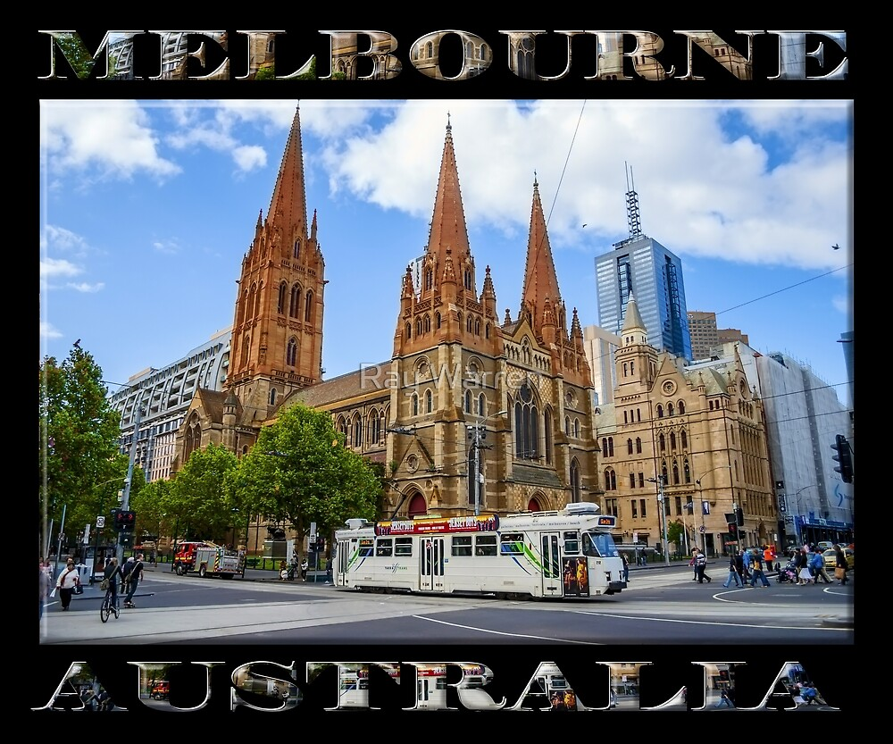 Downtown Melbourne (poster on black) by Ray Warren