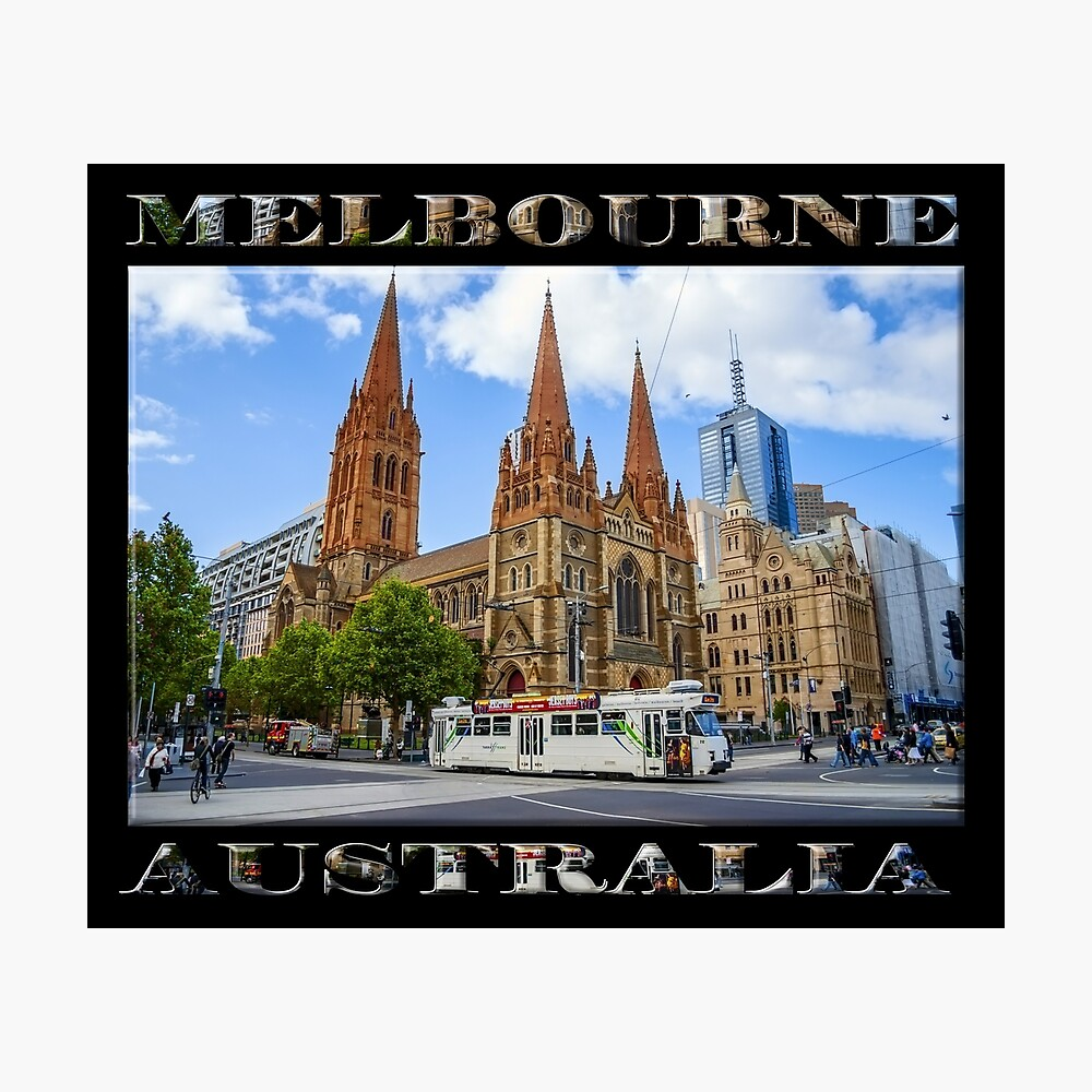 Downtown Melbourne (poster on black) Photographic Print