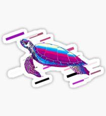 Pegatina Sea turtle turtle Eighties Retro Violet and Purple