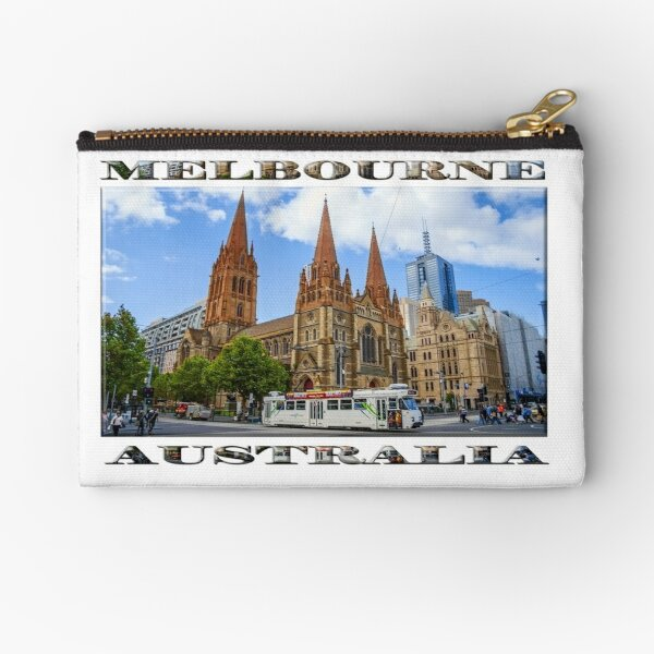 Downtown Melbourne (poster on white) Zipper Pouch