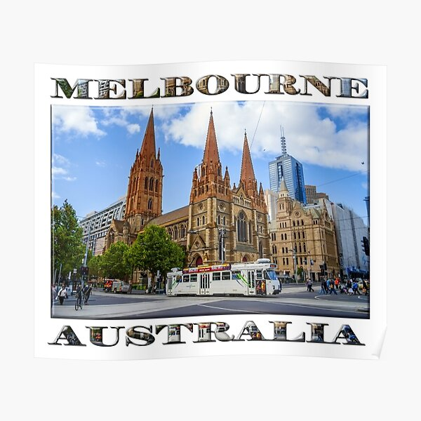 Downtown Melbourne (poster on white) Poster