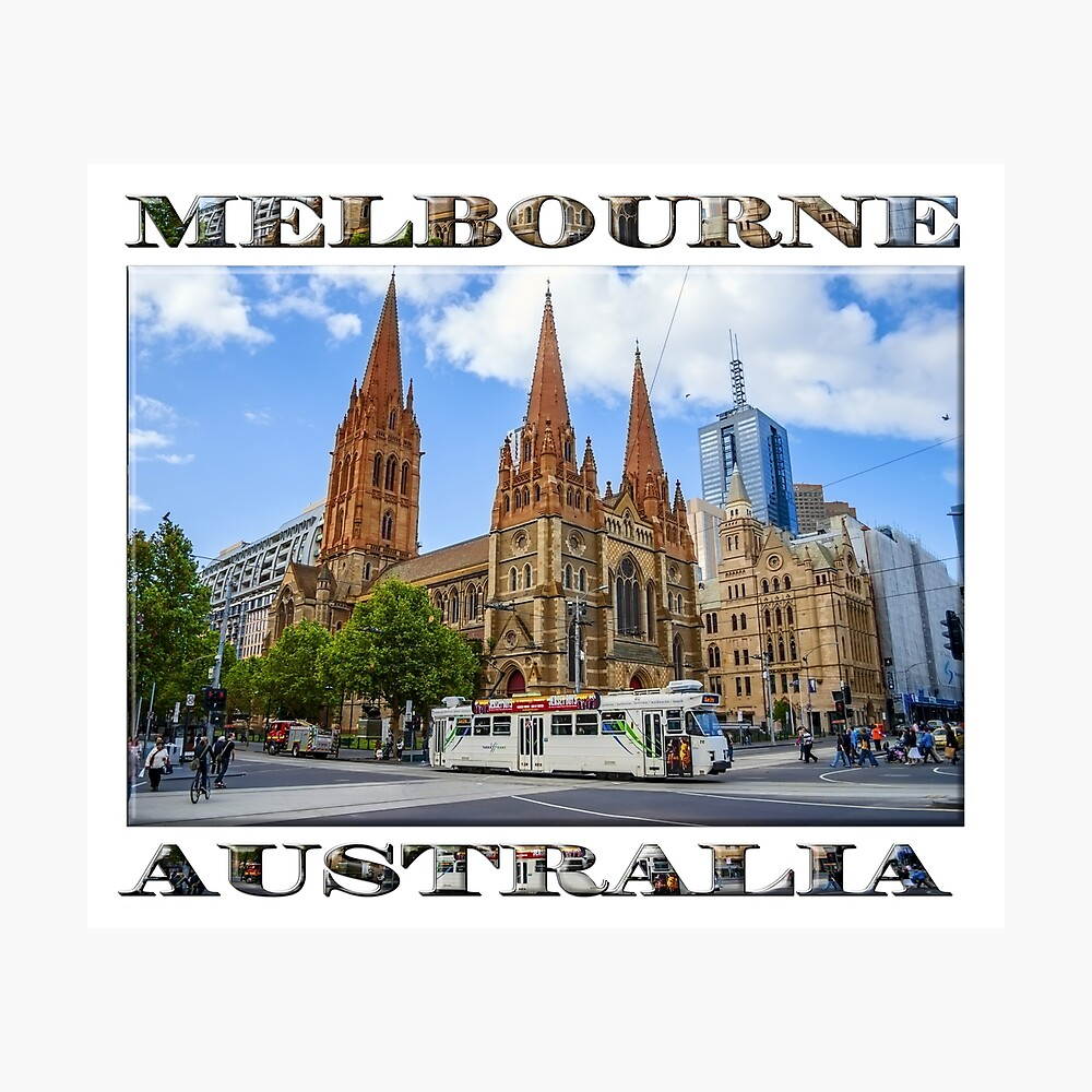Downtown Melbourne (poster on white) Photographic Print