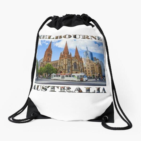 Downtown Melbourne (poster on white) Drawstring Bag