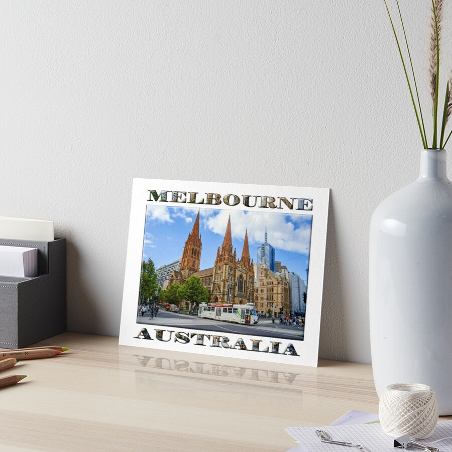 Downtown Melbourne (poster on white) Art Board Print