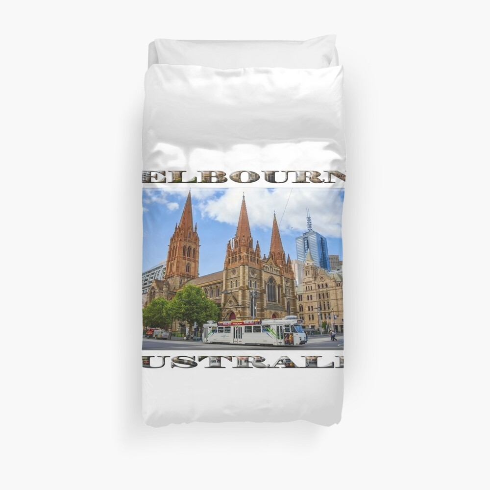 Downtown Melbourne (widescreen poster on white) Duvet Cover