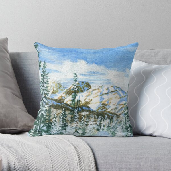 Snowshoeing Lower Chester Trail II Throw Pillow