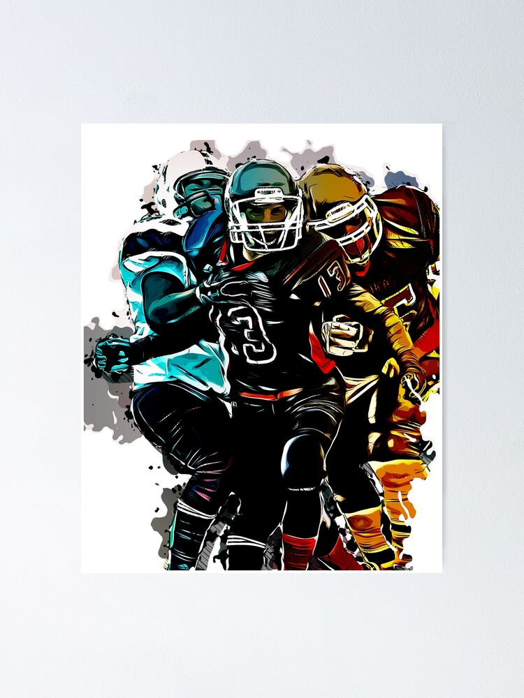 Football Sports For Men Fantasy Game Clipart Graphic Design Poster By Gabiblaze Redbubble