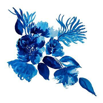 Blue Watercolor Flowers by ilzesgimene