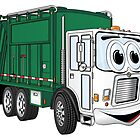 Green Cartoon Garbage Truck by Scott Hayes