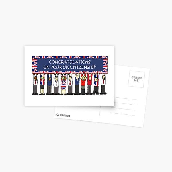 UK Citizenship Congratulations, Cartoon Group of People. Postcard