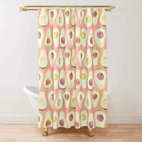Watercolor Avocado pattern in pink  Shower Curtain