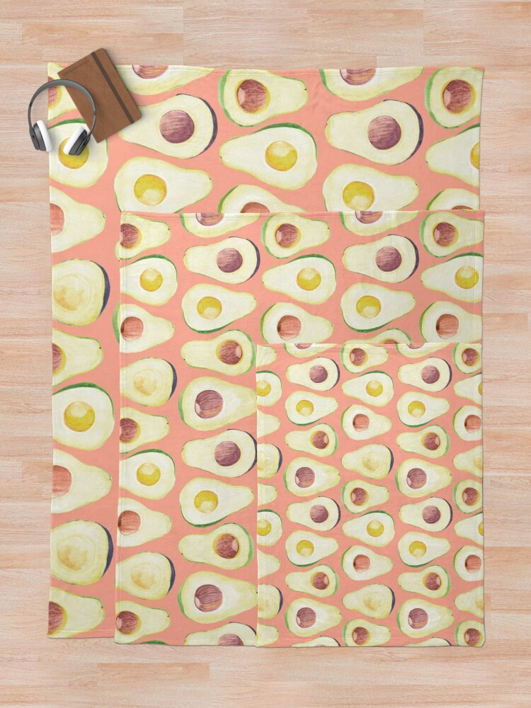 Alternate view of Watercolor Avocado pattern in pink  Throw Blanket